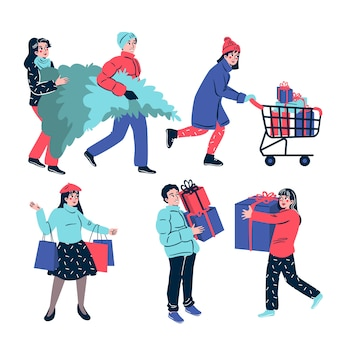 Persone che acquistano regali di natale