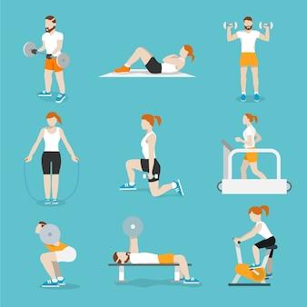 Persone che allenano bici di esercitazione e treadmills di fitness cardio con le icone della pressa di banco raccolta illustrazione vettoriale piatto isolato