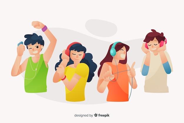 Persone che ascoltano la raccolta di musica