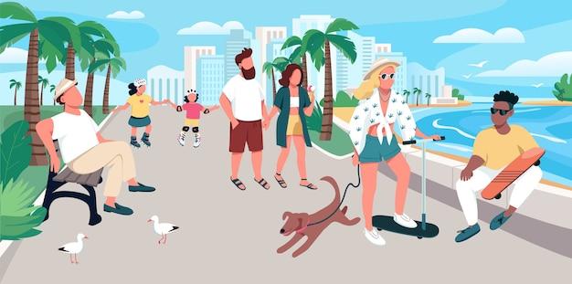 Persone che camminano sulla località di soggiorno illustrazione a colori strada. ricreazione estiva. attività dei turisti. i vacanzieri a personaggi dei cartoni animati di passeggiata con lungomare sullo sfondo