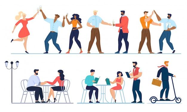 Persone che celebrano la festa, incontri, set di lavoro