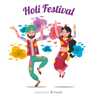 Persone che celebrano lo sfondo del festival di holi