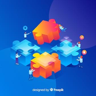 Persone che collegano pezzi di puzzle