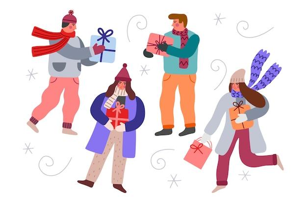 Persone che comprano regali di natale