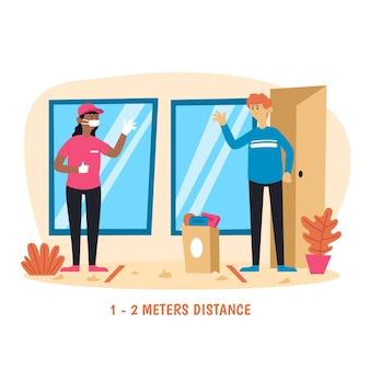 Persone che consegnano cibo in modo sicuro mantenendo una distanza adeguata
