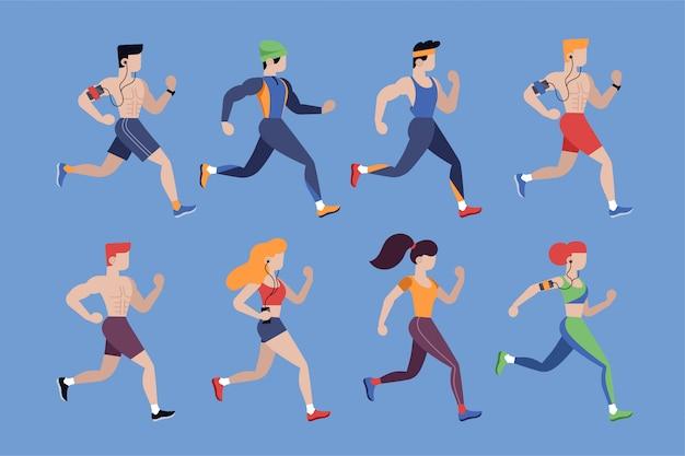 Persone che corrono. uomini e donne da jogging in caratteri isolati di abbigliamento sportivo impostati in stile piano. illustrazione di vettore di stile di vita atletico e sano. attività all'aperto, maratona e competizione sportiva