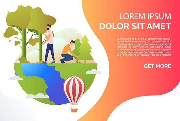 Persone che crescono piante, camminando sul globo terrestre e testo di esempio