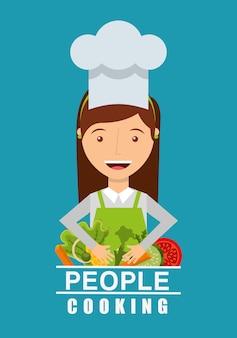 Persone che cucinano design