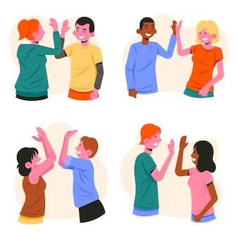 Persone che danno il tema delle cinque illustrazioni
