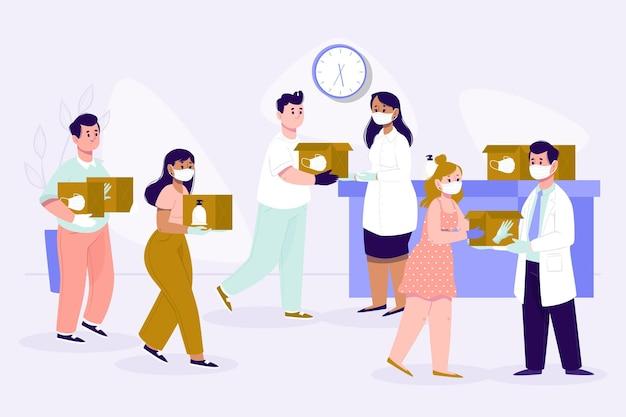 Persone che donano materiale sanitario aiuto umanitario