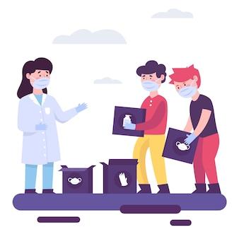 Persone che donano materiale sanitario