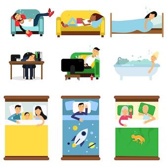 Persone che dormono a casa, sul set di lavoro, uomini e donne che dormono nel letto, divano con bambini, animali domestici, insieme illustrazioni di cartoni animati