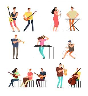 Persone che eseguono musica musicisti con strumenti musicali. personaggi dei cartoni animati di vettore isolati