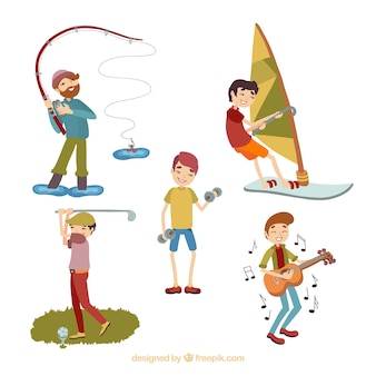 Persone che fanno attività ricreative all'aperto con design piatto