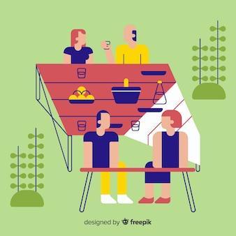 Persone che fanno design piatto attività all'aperto