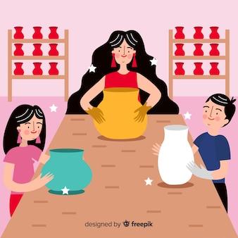 Persone che fanno design piatto in ceramica