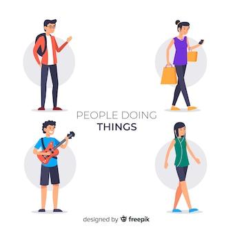 Persone che fanno raccolta di cose