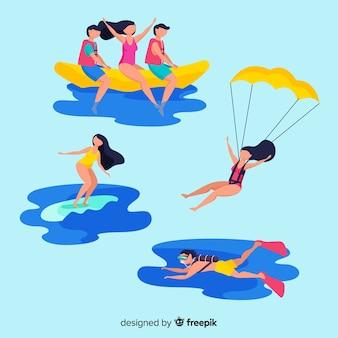 Persone che fanno raccolta di sport acquatici