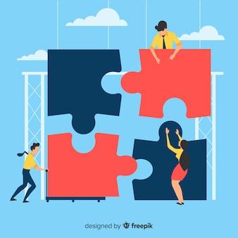 Persone che fanno sfondo puzzle gigante
