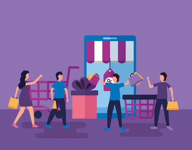Persone che fanno shopping con le borse
