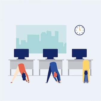 Persone che fanno una pausa attiva in ufficio, stile piatto