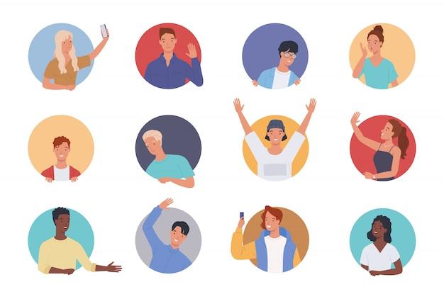 Persone che fanno vari gesti in una cornice circolare. uomini e donne che guardano fuori dalla finestra del cerchio.