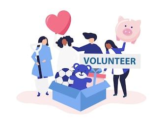Persone che fanno volontariato e donano denaro e oggetti