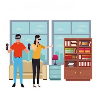 Persone che giocano con gli occhiali per realtà virtuale