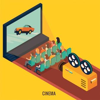 Persone che guardano film in cinema. illustrazione 3d isometrica