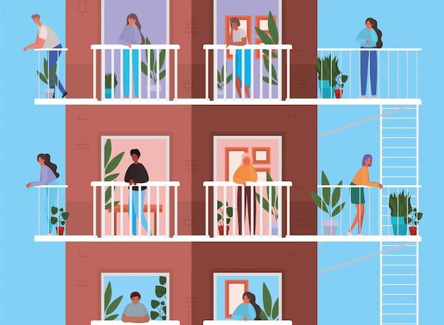 Persone che guardano fuori dalle finestre con balconi dal design marrone dell'edificio