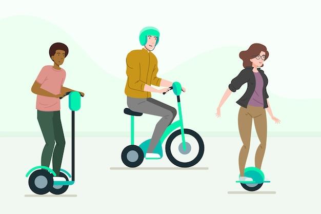 Persone che guidano il set di trasporto elettrico