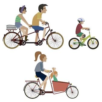 Persone che guidano una collezione di bici