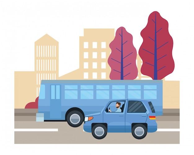 Persone che guidano veicoli nel traffico
