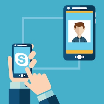 Persone che hanno chat video tramite skype
