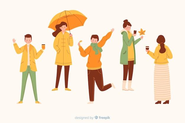 Persone che indossano abiti autunnali illustrati