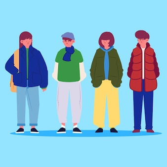 Persone che indossano abiti invernali impostati