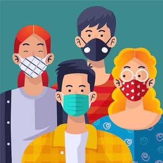 Persone che indossano la maschera per il viso