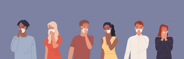 Persone che indossano maschere e tosse.
