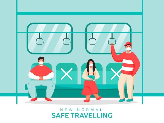 Persone che indossano maschere mediche al treno con mantenimento della distanza sociale per prevenire il coronavirus. nuovo concetto di viaggio sicuro normale.