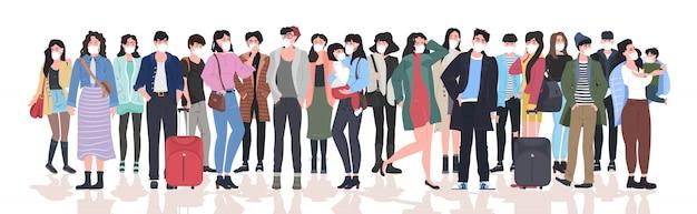 Persone che indossano maschere per prevenire l'epidemia mers-cov wuhan coronavirus 2019-ncov pandemia rischio sanitario medico uomini donne folla in piedi insieme a figura intera orizzontale