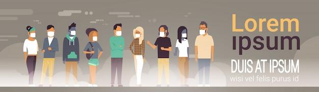 Persone che indossano una maschera protettiva per modello di banner di inquinamento