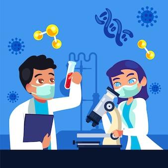 Persone che lavorano in un laboratorio scientifico con la maschera del chirurgo