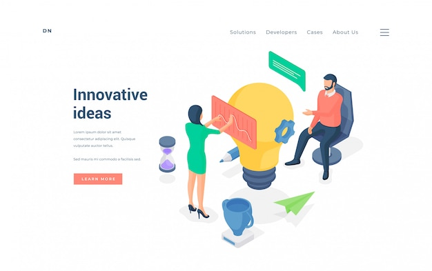 Persone che lavorano su idee innovative. illustrazione vettoriale isometrica