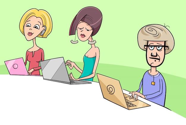 Persone che lavorano sul notebook illustrazione di cartone animato