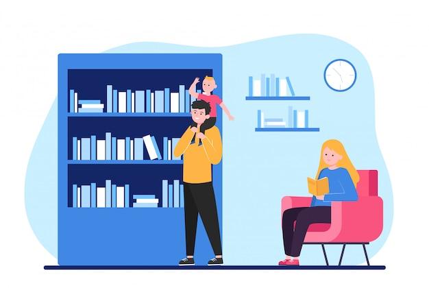 Persone che leggono e scelgono libri