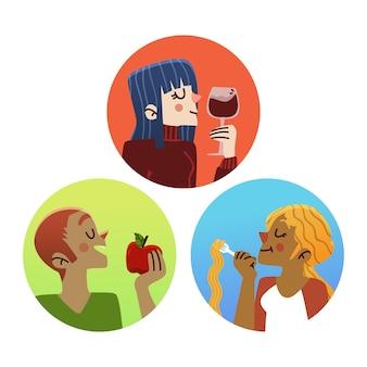 Persone che mangiano cibo e bevono vino