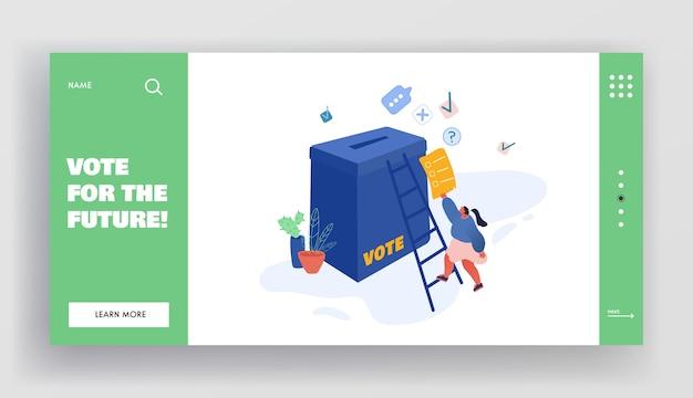 Persone che mettono voto cartaceo nelle urne. personaggi maschili e femminili, eseguire diritti e doveri nella vita politica del paese pagina di destinazione del sito web, pagina web. cartoon piatto, banner