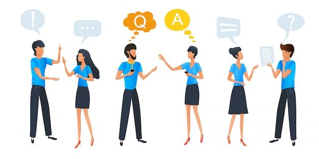 Persone che parlano e pensano, chat di gruppo di comunicazione con fumetti di dialogo colorato