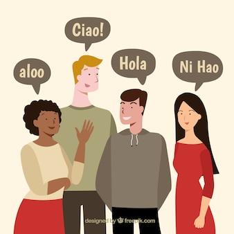 Persone che parlano lingue diverse con design piatto