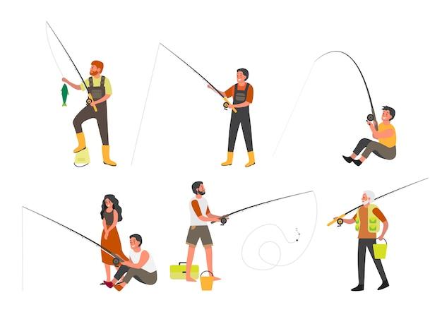 Persone che pescano con canna da pesca e set ned. attività estiva all'aperto, turismo naturalistico. persone con attrezzatura da pesca e pesce. gara di pesca sportiva. illustrazione
